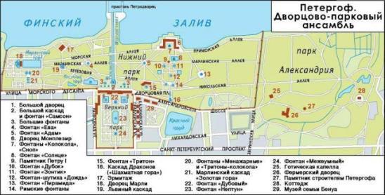 """Карта парка """"Петергоф""""."""